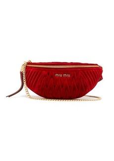 Miu Miu Matelassé-quilted velvet belt bag