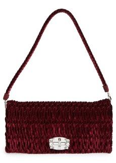 Miu Miu Medium Crystal Embellished Quilted Velvet Shoulder Bag