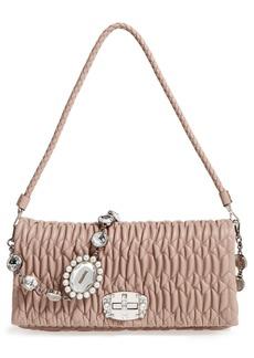 Miu Miu Medium Crystal Matelassé Leather Crossbody Bag