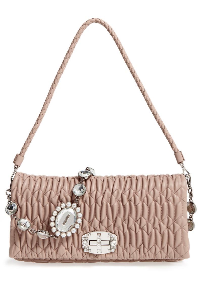 Miu Miu Miu Miu Medium Crystal Matelassé Leather Crossbody Bag ... 58f61dc1569f3