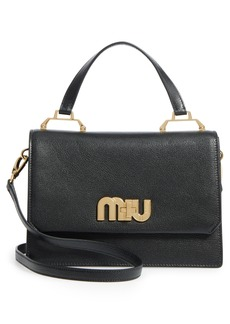 Miu Miu Medium Madras Logo Hardware Leather Satchel