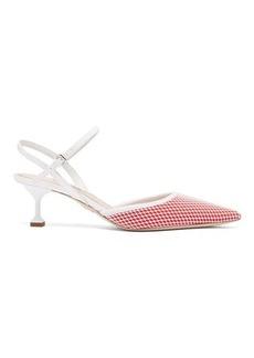 Miu Miu Mesh patent-leather slingback kitten heels