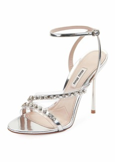 Miu Miu Metallic Jeweled High-Heel Sandals