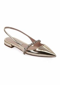 Miu Miu Metallic Leather Crystal-Strap Flats