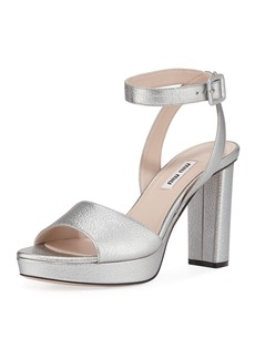 Miu Miu Metallic Leather Platform Sandals