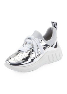 Miu Miu Metallic Leather Running Sneakers