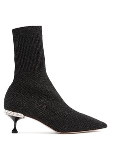 Miu Miu Metallic ribbed-knit sock ankle boots