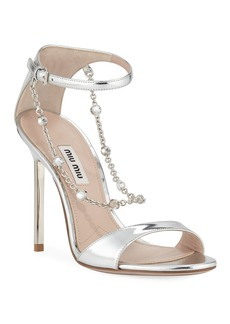 Miu Miu Metallic Sandals with Jeweled Chain