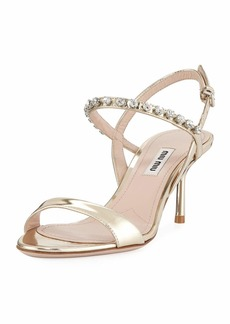 Miu Miu Metallic Shiny Jeweled Sandals