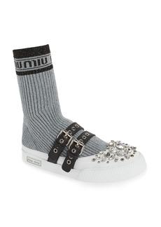 Miu Miu Metallic Sock Sneaker (Women)