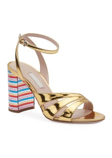 Miu Miu Metallic Strappy Sandals with Rainbow Heel
