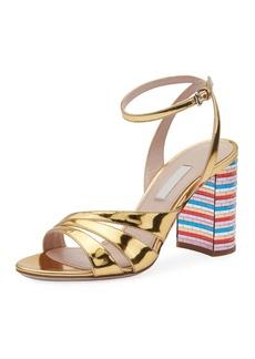 Miu Miu Metallic Strappy Sandals with Rainbow Heel