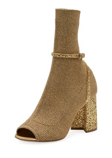 Miu Miu Metallic Stretch-Knit 85mm Open-Toe Booties