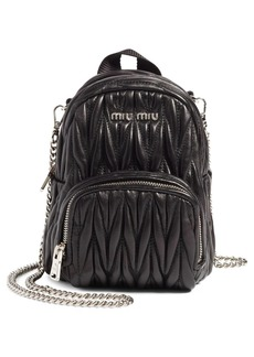 Miu Miu Micro Matelassé Leather Backpack