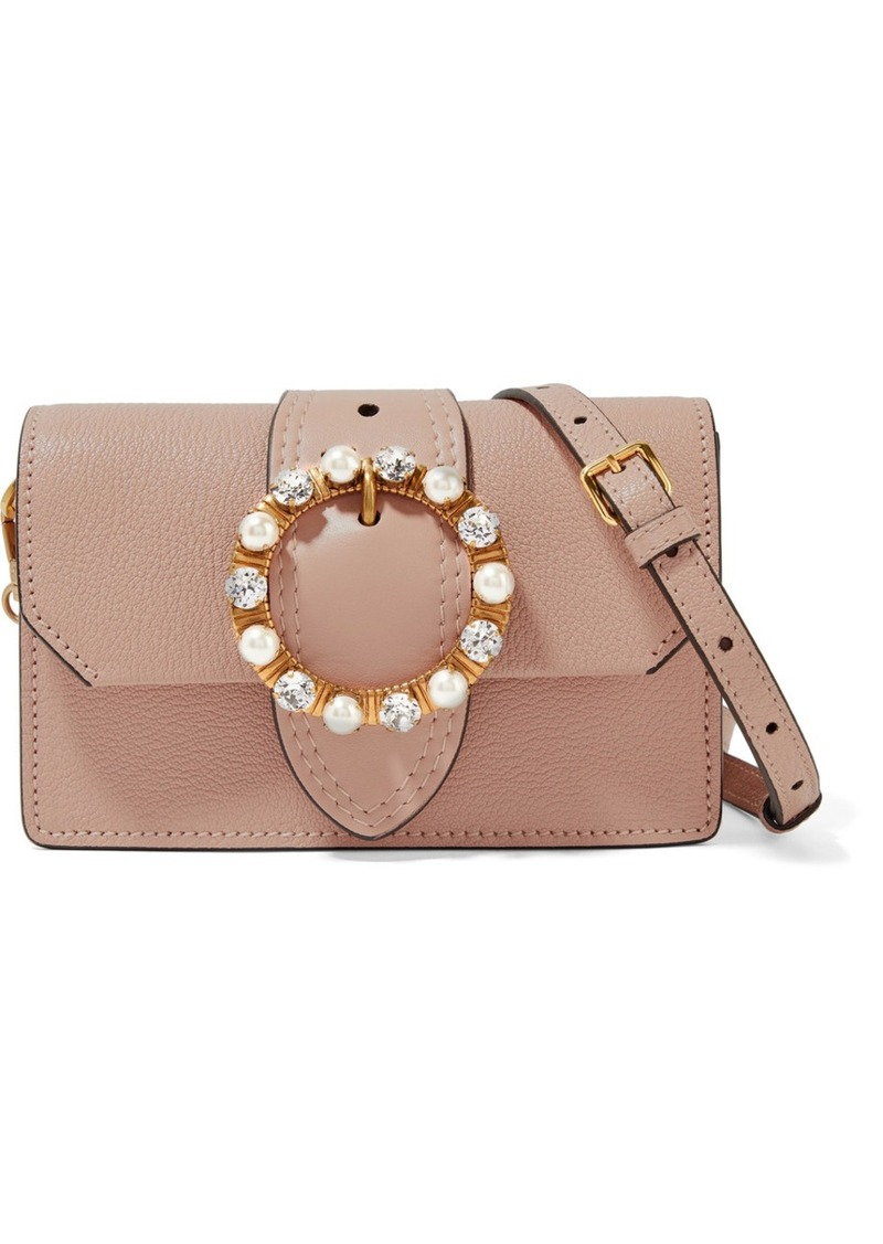 Miu Miu Miu Lady embellished smooth and textured-leather shoulder bag 4dff935ab1a2d