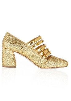 Miu Miu Multi-strap glitter mid-high pumps