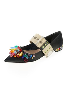Miu Miu Multicolor Jeweled Satin Skimmer
