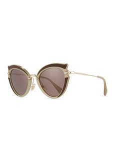 Miu Miu Noir Gradient Cat-Eye Silk Satin Sunglasses