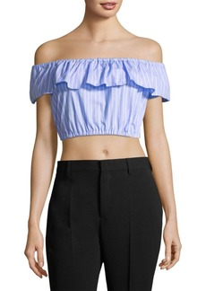Miu Miu Off-Shoulder Crop Ruffle Top