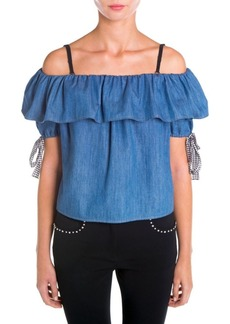 Miu Miu Off-The-Shoulder Ruffled Denim Blouse