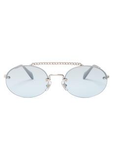 Miu Miu Oval-shaped crystal-embellished sunglasses