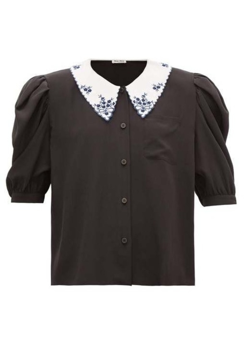 Miu Miu Oversized-collar puff-sleeve silk blouse