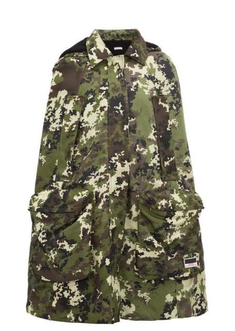 Miu Miu Panama hooded camouflage-print canvas cape
