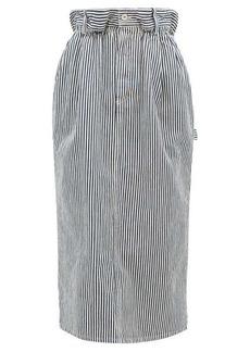 Miu Miu Paperbag-waist logo-patch striped denim skirt