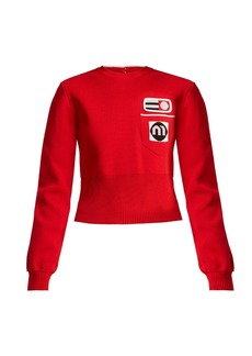 Miu Miu Patch-appliqué cropped-length sweater