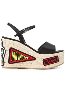 Miu Miu patch-work wedge sandals - Black