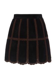 Miu Miu Patchwork Suede Mini Skirt