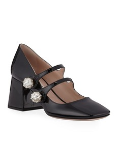Miu Miu Patent Crystal-Button Mary Jane Pumps