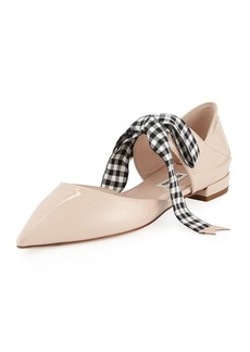 Miu Miu Patent Leather Ankle-Tie d'Orsay Flat