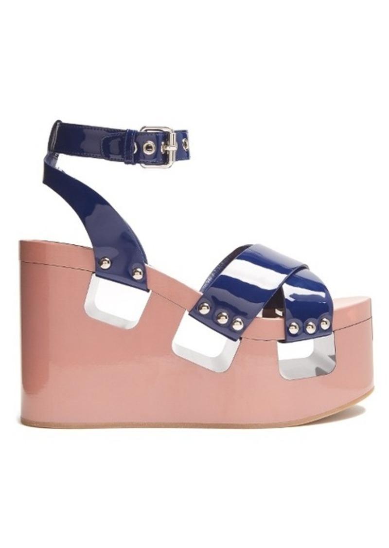 Miu Miu Patent-leather wedge sandals