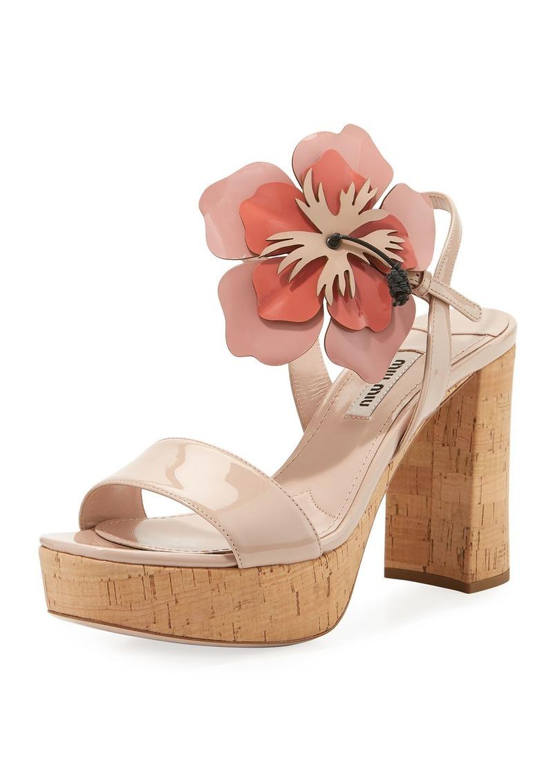 Miu Miu Patent Sandal with Flower Motif