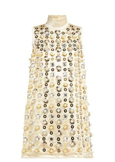 Miu Miu Pearl and sequin-embellished satin mini dress