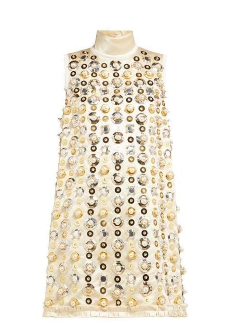 Miu Miu Pearl and sequin-embellished satin mini dress