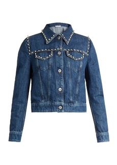 Miu Miu Pearl-embellished cropped denim jacket