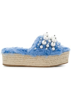 Miu Miu pearl embellished wedge sandals - Blue
