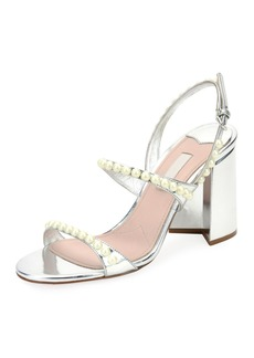 Miu Miu Pearly Beaded Block-Heel Sandal