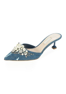 Miu Miu Pearly Beaded Denim Mule Pump
