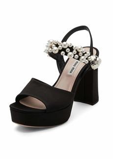 Pearly Satin Platform Sandal
