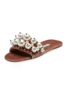 Pearly Velvet Slide Sandal