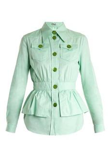 Miu Miu Peplum-waist cotton-piqué jacket