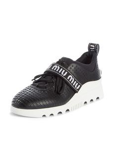 Miu Miu Perforated Platform Sneaker (Women)