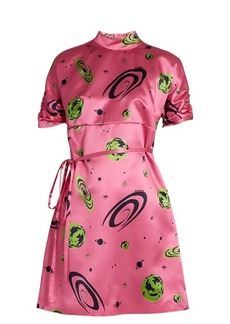 Miu Miu Planet-print duchess-silk dress