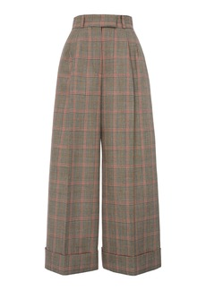 Miu Miu Pleated Plaid Trousers