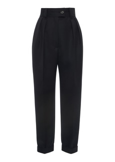 Miu Miu Pleated Wool Cropped Straight-Leg Trousers