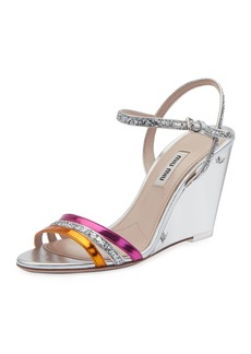Miu Miu Plexi Glitter and Metallic Wedge Sandals