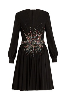 Miu Miu Plunging embellished silk mini dress